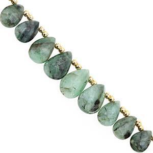 35cts Emerald Top Side Drill Graduated Faceted Pear Approx 7x4 to 12.5x8.5mm, 17cm Strand with Spacers