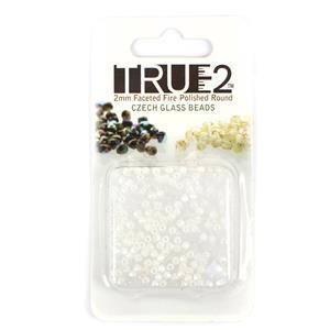 True2 Pastel White Fire Polish Beads Approx 2mm (2GM)