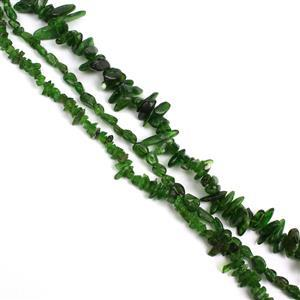 390cts Chrome Diopside Mix Shapes and sizes, 38cm strands (Set of 3)