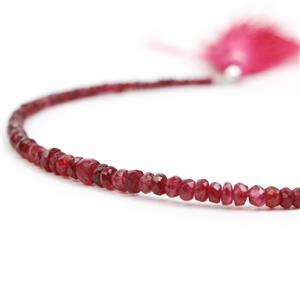 22.50cts Red Spinel Graduated Faceted Rondelles Approx 2x1 to 4x2mm, 18cm Strand.