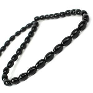 80cts Black Agate Rice Beads Approx 9x6mm, 38cm Strand