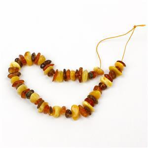 Baltic Multi Colour Amber Centre Drilled Chips Inc. Butterscotch, Earthy, Off-White, Approx. 10mm (20cm Strand)
