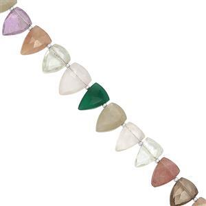 85cts Multi Gemstones Faceted Fancy Pears Approx 9x6 to 13x10mm, 19.5cm Strand with Spacers