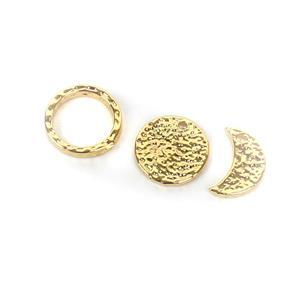 Gold Plated Hammered Base Metal Moon Charm Set, Approx 12mm (3pcs)