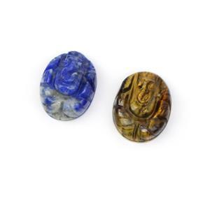 Lapis & Tiger Eye Ganesh carving