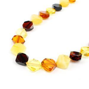 Baltic Multi Colour Amber Faceted Beads Approx. 4x10mm, 38cm Strand