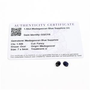 1.5cts Madagascan Blue Sapphire 7x5mm Fancy Pack of 2 (U)