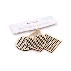 Cross Stitch Mini Wooden Shape Decorations/Tags Approx 4x4cm
