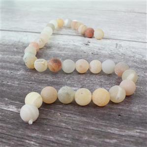 390cts White & Peach Frosted with Druzy hole Agate Plain Rounds Approx 12mm, 38cm Strand