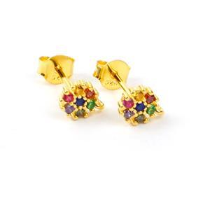 Gold Plated 925 Sterling Silver Circle Earrings With Loop & With Multi Colour Cubic Zirconia