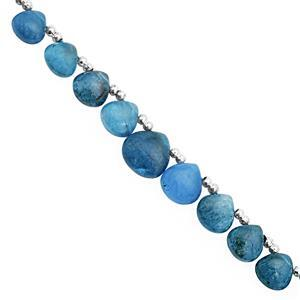 25cts Neon Apatite Top Side Drill Graduated Plain Heart Approx 4 to 6mm, 16cm Strand with Spacers