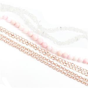 Ballet Slippers; Pink Opal Rounds, Quartz Nuggets, Rose Gold Plated Geometric Chains