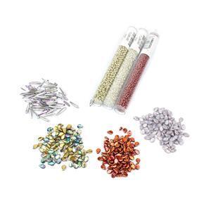 Arctic: Preciosa Copper, Sunset & Rainbow Pip Beads, Crystal Thorn Beads; 11/0s & 2x 8/0s