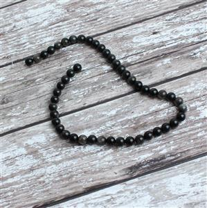 160cts Silver Obsidian Plain Round Approx 8mm, 38cm strand