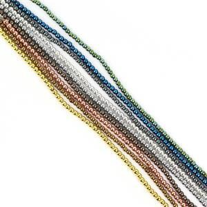 610cts Multi Colour Coated Hematite Smooth Round Approx 3.5 to 4mm, 30cm Strand (Pack of 9)