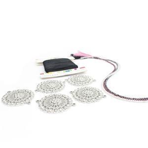 Silver Flame; Haematite, Rhodolite Garnet & Moonstone, Silver Colour Connectors 5pk, Tilas