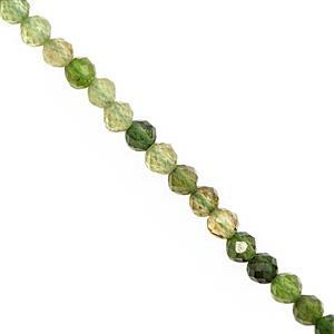 15cts Mix Green Tourmaline Faceted Round Approx 3mm, 28cm Strand