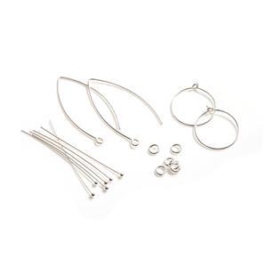 925 Sterling Silver Earring Findings Pack 16pc