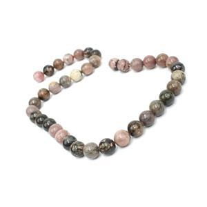 350cts Rhodonite Plain Rounds Approx 10mm, 38cm Strand
