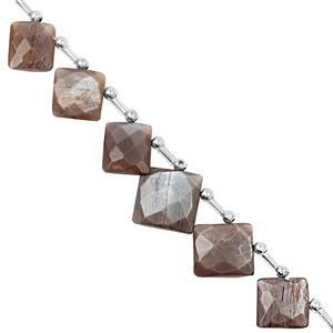 78cts Chocolate Moonstone Graduated Faceted Square Approx 12.5 to 19.5mm, 21cm Strand with Spacers