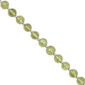 25cts Peridot Graduated Faceted Round Approx 3 to 6.5mm, Approx 18cm Strand with Spacer