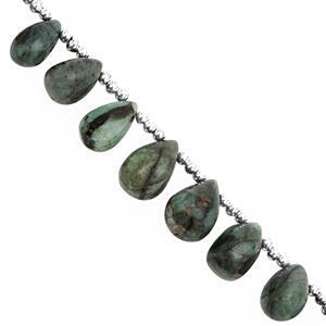 95cts Emerald Top Side Drill Graduated Plain Drops Approx 8x5 to 13x10mm, 16cm Strand With Spacers
