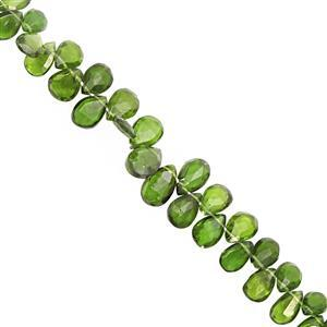 35cts Chrome Diopside Top Side Drill Faceted Pear Approx 5.5x4 to 8.5x6mm, 15cm Strand