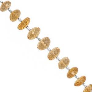 45cts Rio Grande Citrine Graduated Faceted Rondelle Approx 7x4 to 10.5x6.5mm, 15cm Strand with Spacers