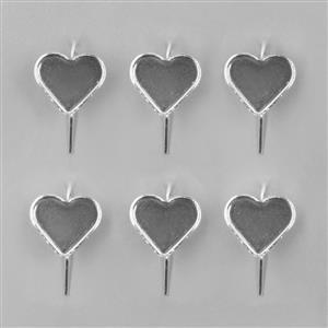 Silver Plated Bezel Earrings Heart - 13x15mm (3pairs/pk)