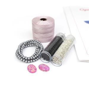 Space Baby! Inc; Pink Opalus Cabochon, Blush S-Lon, Glass Pearls & Miyuki 15/0s