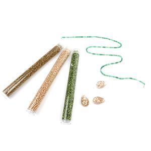 Vintage; 10cts Green Agate, Murano Glass White Avventurina Pasta Drop 20mm 3pc & Miyuki