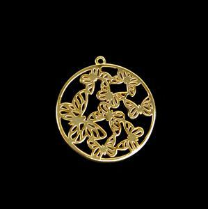 Gold Plated 925 Sterling Silver Filigree Butterfly Kaleidoscope Circle Pendant Approx 30mm 1pk