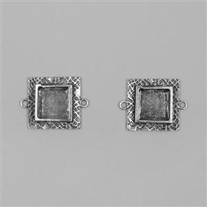 ICE Resin® Antique Silver Milan Small Square Bezels with Closed Backs Approx ID 14mm