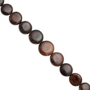 76cts Golden Sheen Obsidian Center Drill Graduated Smooth Coin Approx 7 to 12.50mm, 17cm Strand