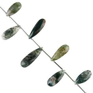 70cts Moss Agate Graduated Faceted Pears Approx 19x9 to 28x10mm, 10cm Strand.