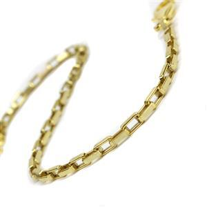 Gold Plated 925 Sterling Silver Long Box Chain Bracelet With Lobster Clasp