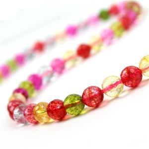 95cts Dyed Multi-Colour Quartz Faceted Rounds Approx 6mm, 38cm strand