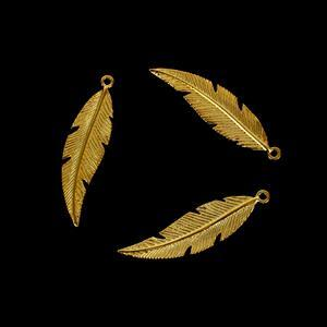 Gold Plated 925 Sterling Silver Fine Detail Feather Pendants, Approx 26x7mm, 3pcs