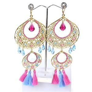 Statement Bollywood Inc Red, Blue, Green & Pink Tassels & Seed Beads
