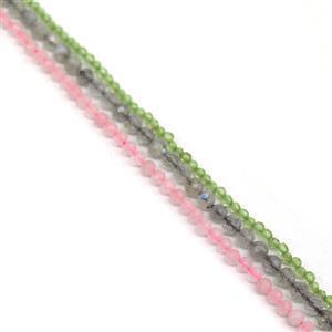 3mm Mega Bundle Inc: Peridot,Rose Quartz & Labradorite