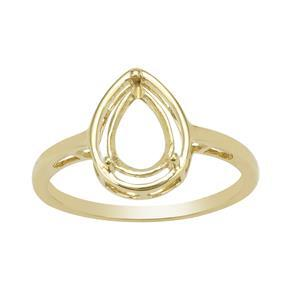 9k Yellow Gold Pear Ring Mount (To fit 9x6mm gemstone)-1Pcs