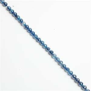 150cts Coated Blue Stripe Agate Faceted Rounds Approx 8mm, 38cm Strand