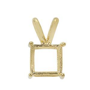 Gold plated 925 Sterling Silver Square Pendant Mount With Rabbit Bail (To fit 8mm gemstone)- 1 pcs