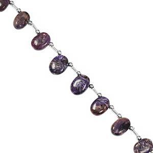 72cts Charoite Top Side Drill Smooth Oval Approx 11x8 to 15x10mm, 22cm Strand with Spacers