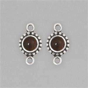 925 Sterling Silver Oxidised Vintage Connector Approx 14x7mm Inc. 1cts Smokey Quartz Round Approx 5mm (2pcs)