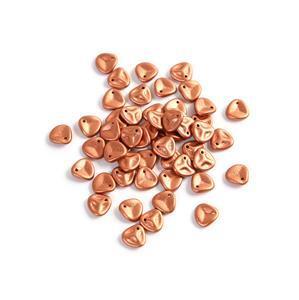 Czech Rose Petal Beads Vintage Copper, Approx 8x7mm (50pcs)