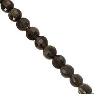 25cts Gold Sheen Obsidian Faceted Puffy Coin Approx 4.50mm, 30cm Strand