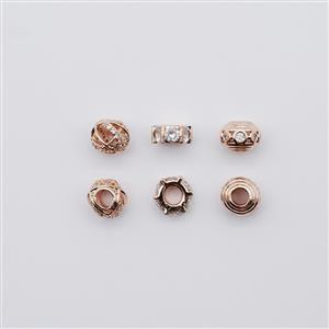 Rose Gold Plated CZ Base Metal Bead Pack, Approx. 8mm (6pk)