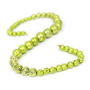 160cts Peridot Green Rock Lava Graduated Plain Rounds Approx 6 to12mm, 38cm Strand
