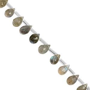 25cts Labradorite Top Side Drill Faceted Drop Approx 5x4 to 9x5mm, 20cm Strand with Spacers